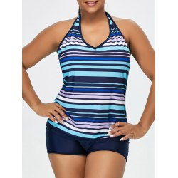 Bathing Suits for plus Size wholesale padded striped plus size halter tankini swimsuits 2xl purplish  blue online. cheap plus NHOAVTL