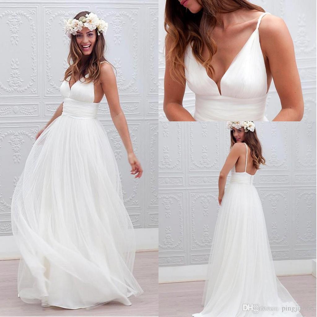 beach wedding dress discount romantic boho beach wedding dresses 2018 spaghetti v necklines  backless bohemian bridal gowns KPDHNHR