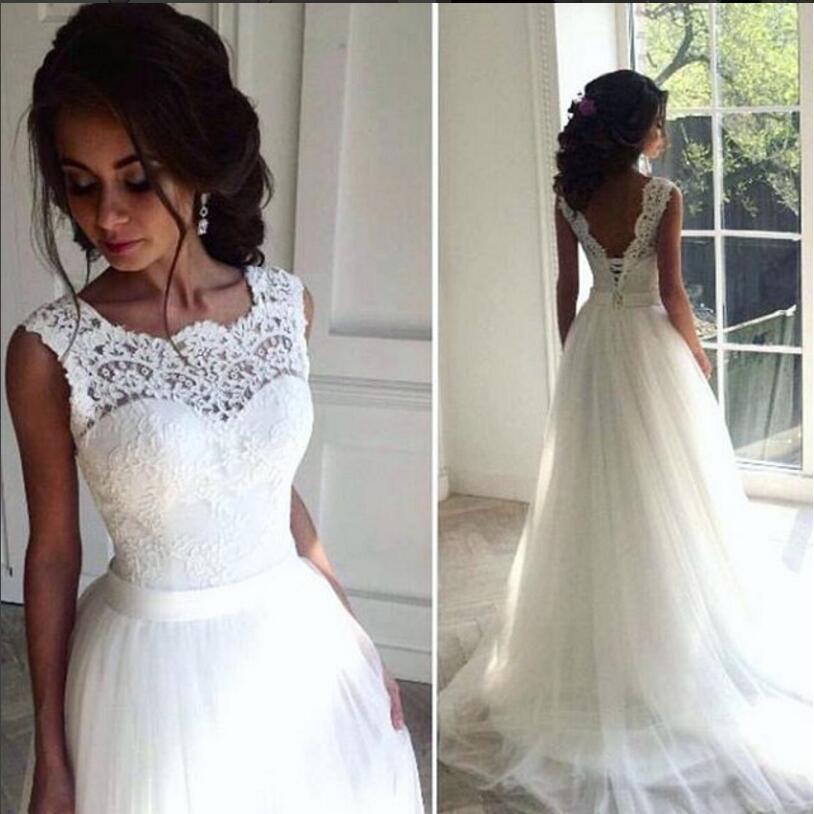 beach wedding dress lace cheap 2016 beach wedding dresses crew a-line tulle bridal dresses  vintage chic long BJWVCSK
