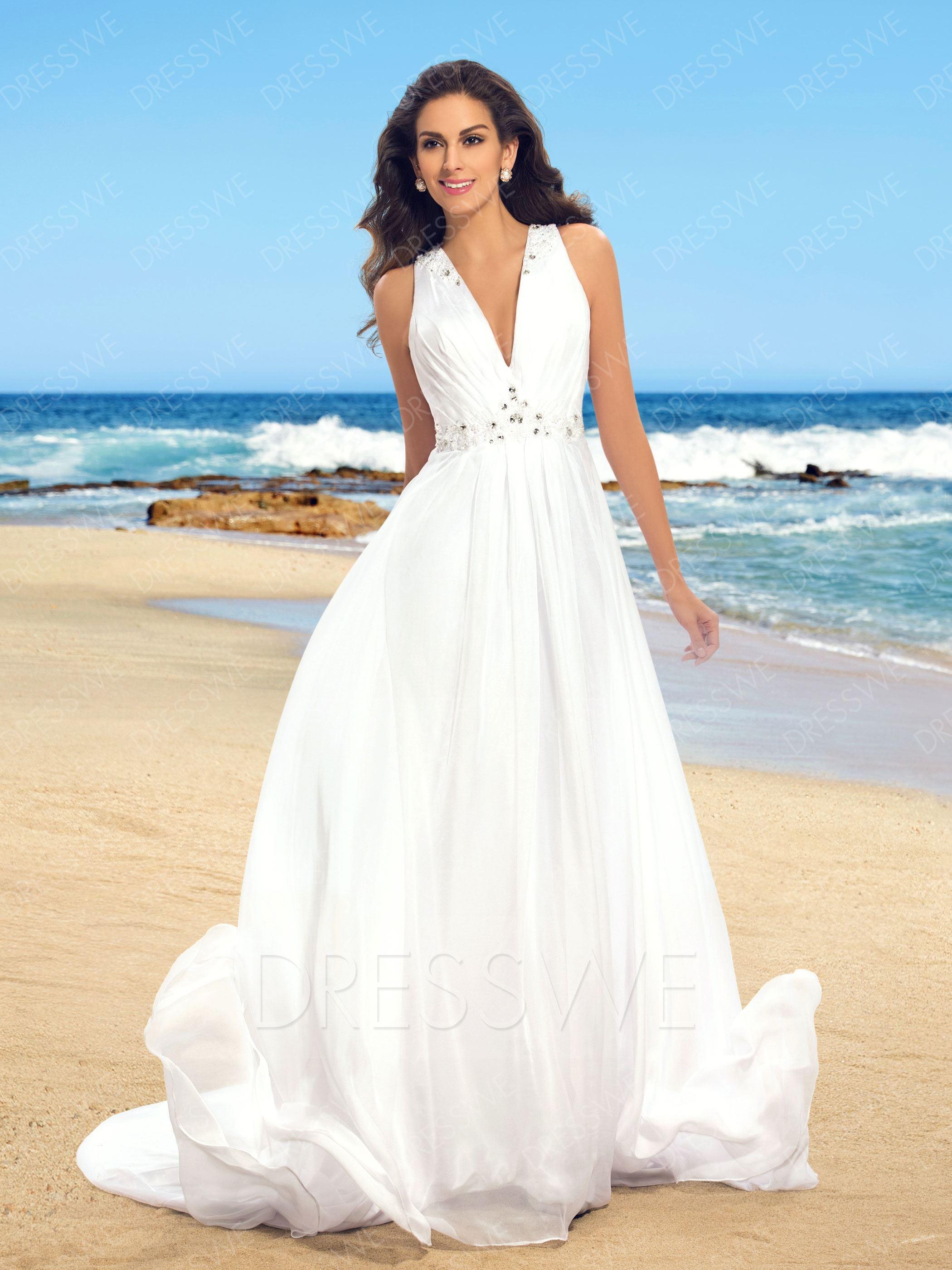 beach wedding dress picture: dresswe.com supplies simple v-neck beaded sheer back beach wedding  dress beach wedding ... CYEUTSP