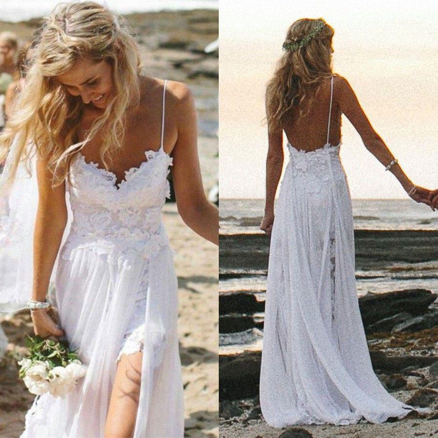 beach wedding dress spaghetti strap white chiffon beach wedding dresses,simple bridal gowns for  summer wedding,152 ADJPRUV