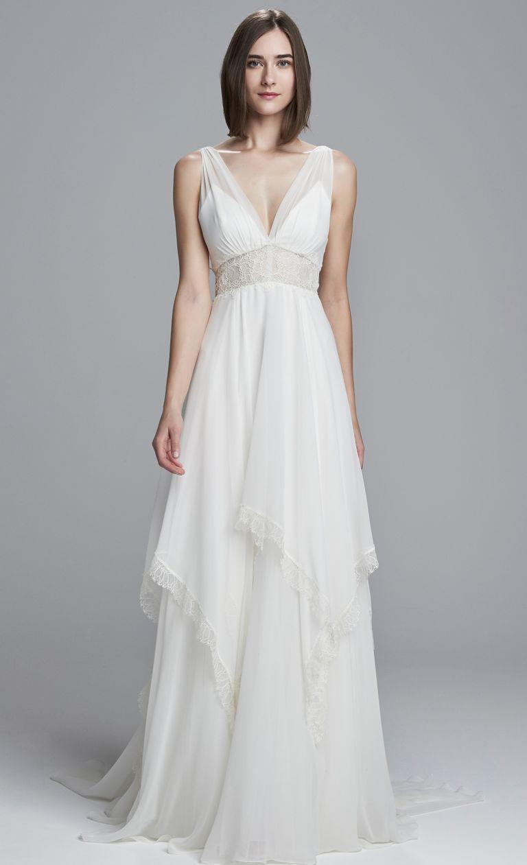Beachy Wedding Dresses christos silk chiffon sheer lace wedding dress CTCUIFN