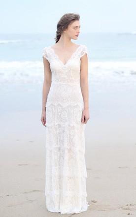Beachy Wedding Dresses plunged sheath cap-sleeve tired boho style wedding dress and deep-v back ... CSNTHVI
