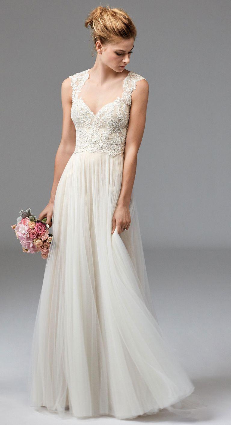 Beachy Wedding Dresses watters lace and chiffon dress fall 2016 collection ITNDIMV