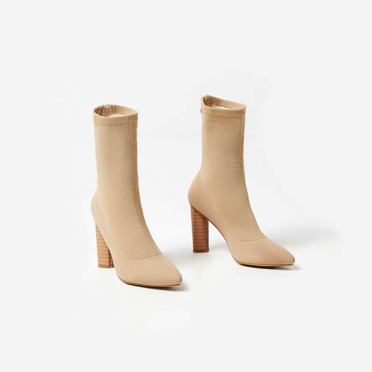 beige boots anushka knit wooden heel ankle boots | ego MYHAGVF