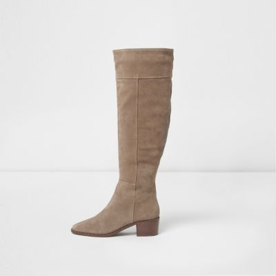 beige boots beige suede studded knee high suede boots VRLDEYS