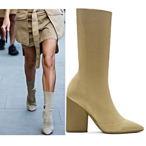 beige boots image is loading yeezy-season-4-beige-knit-stretch-boots-size- WRQCARP