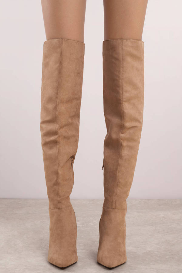 beige boots ... misty taupe pointed toe knee high boots ... JCAEXRK