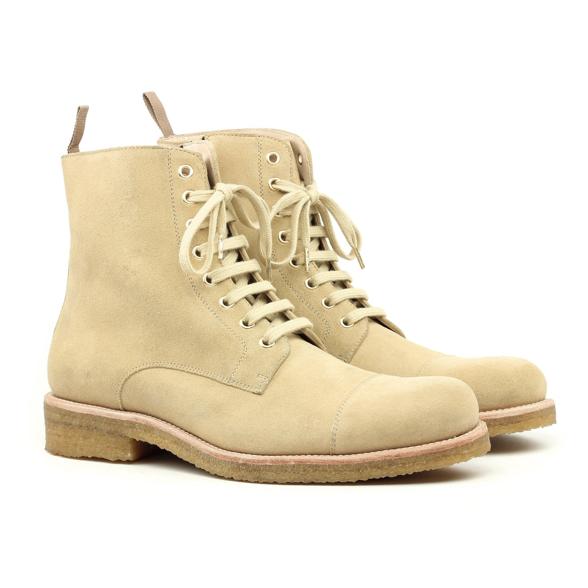 beige boots ... the beige crepe combat boots ... JCRABBS
