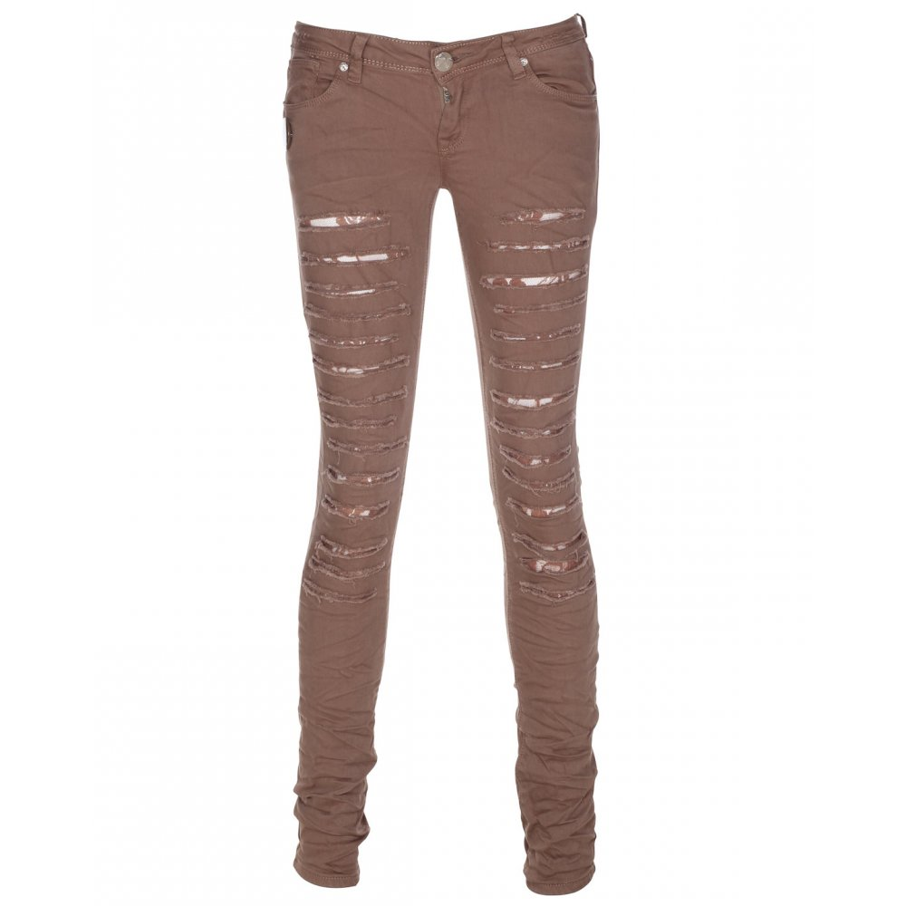 Beige Jeans blue inc woman womens dark beige ripped denim straight leg jeans EMKIGLM
