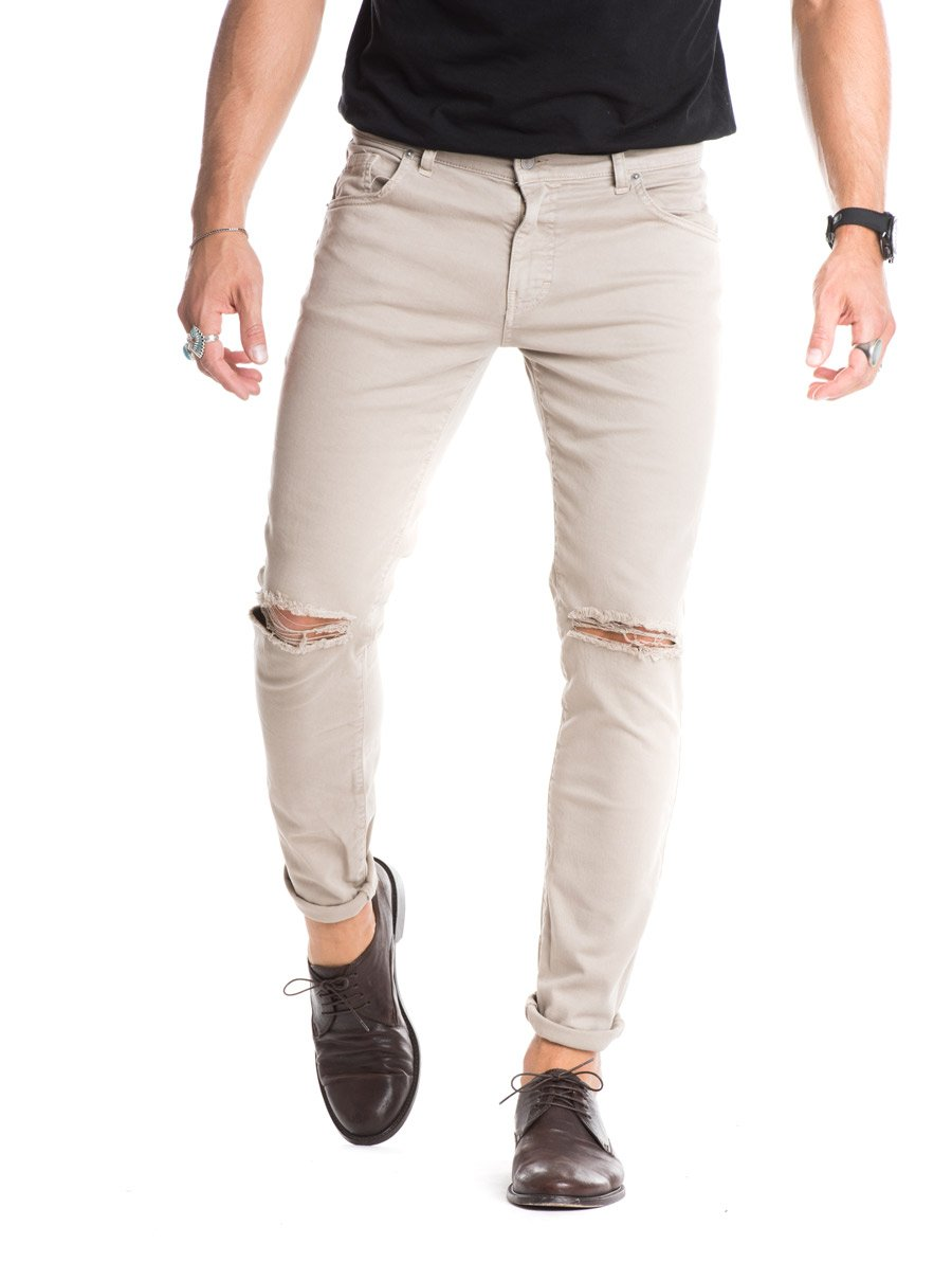 Beige Jeans menu0027s clothing | bige ripped jeans | destroyed | distressed | skinny | nohow PBGKDXW
