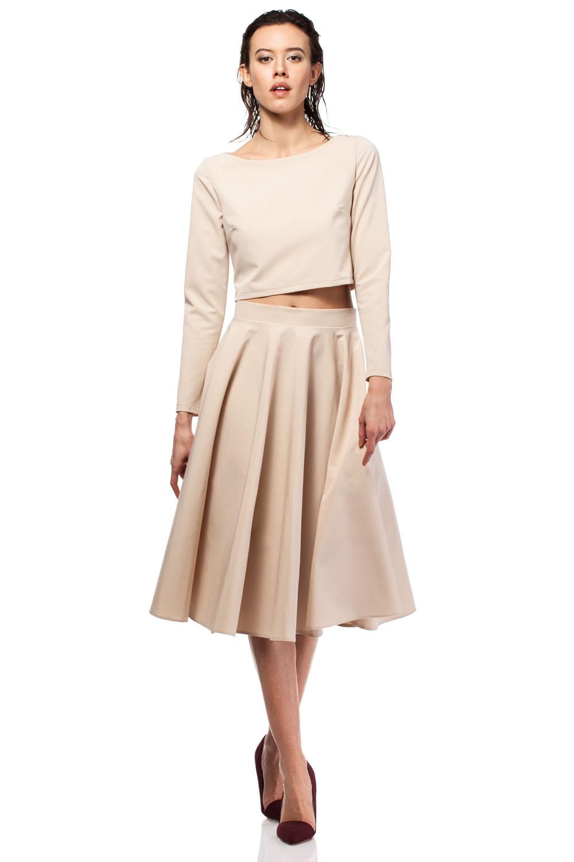 Beige Skirts beige pleated midi skirt with back zipper fastening AZJWHGH