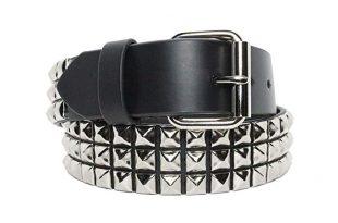 belt 3 row chrome pyramid studded belt 1-1/2 wide blk genuine NLQXXOP