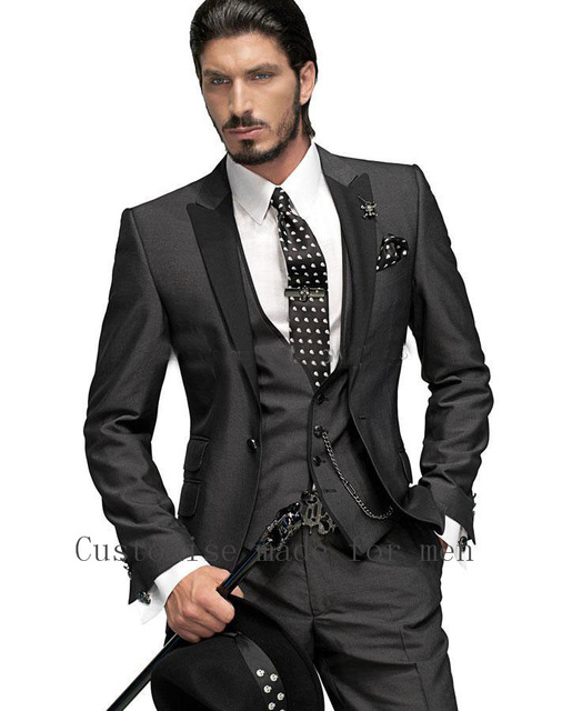 best selling 2017 custom business mens suits italian black wedding suits  for men groom ASAMNZE