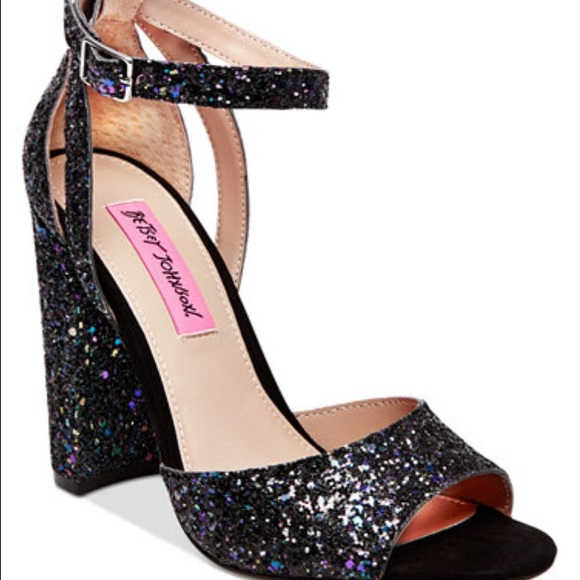 betsey johnson sparkle black glitter heels KFSJPAH