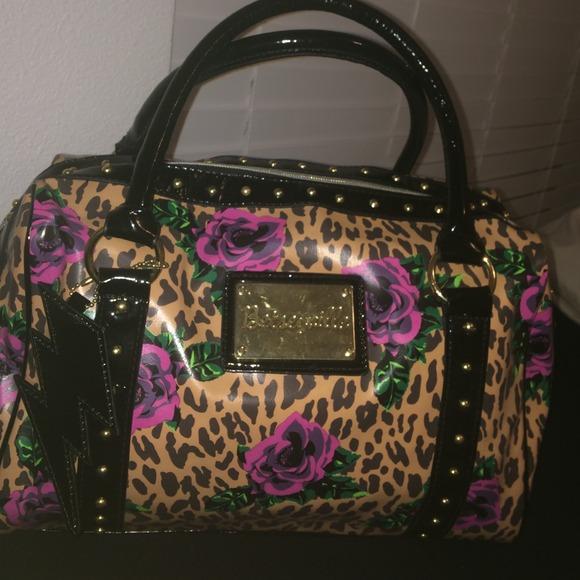 betseyville bags betseyville bag in cheetah print w/ pink roses UTLJAOE