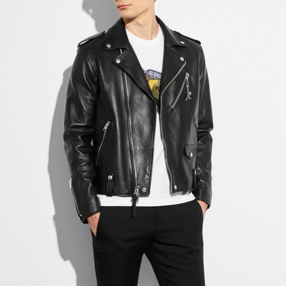 biker leather jackets coach moto jacket BQNNUVJ