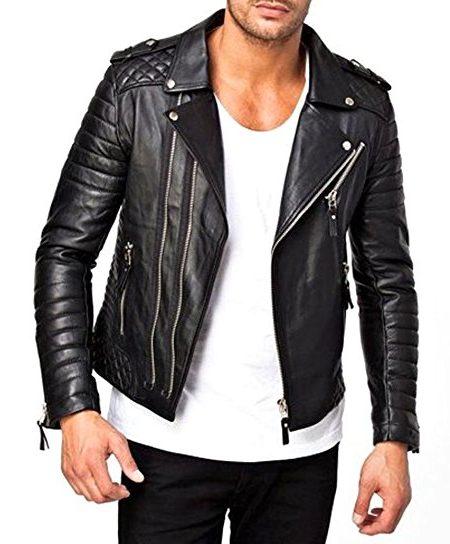 biker leather jackets menu0027s moto style lambskin quilted biker leather jacket OKCBVDK