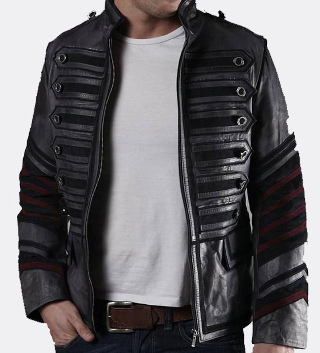 biker leather jackets military men black biker leather jacket - thumbnail 1 ... LQTIFUK