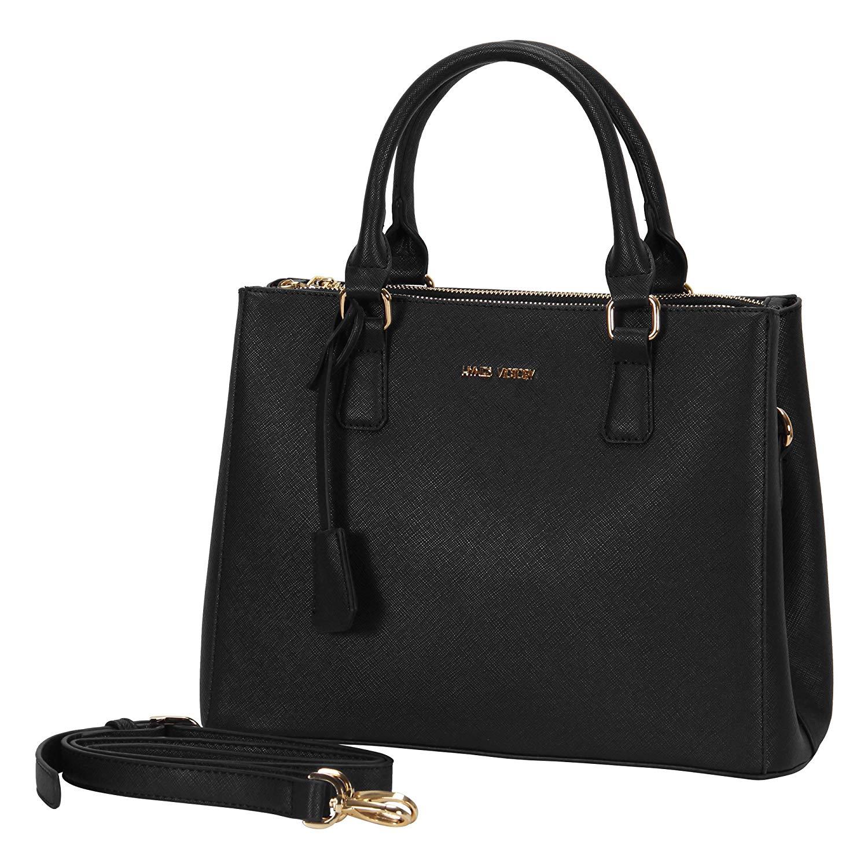 black bags amazon.com: hynes victory womens classy satchel handbag (black): shoes KLKHUWZ