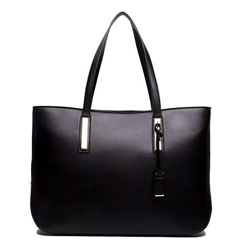 black bags miss lulu womenu0027s faux leather handle tote bag, black EQQUUUN