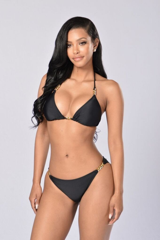 Black Bikini by the pool chain bikini - black LYDHAPV