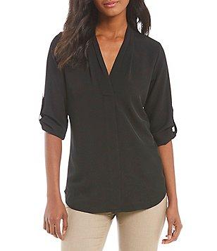 black blouses calvin klein pleated v-neck roll-tab long sleeve top RQGHVHV