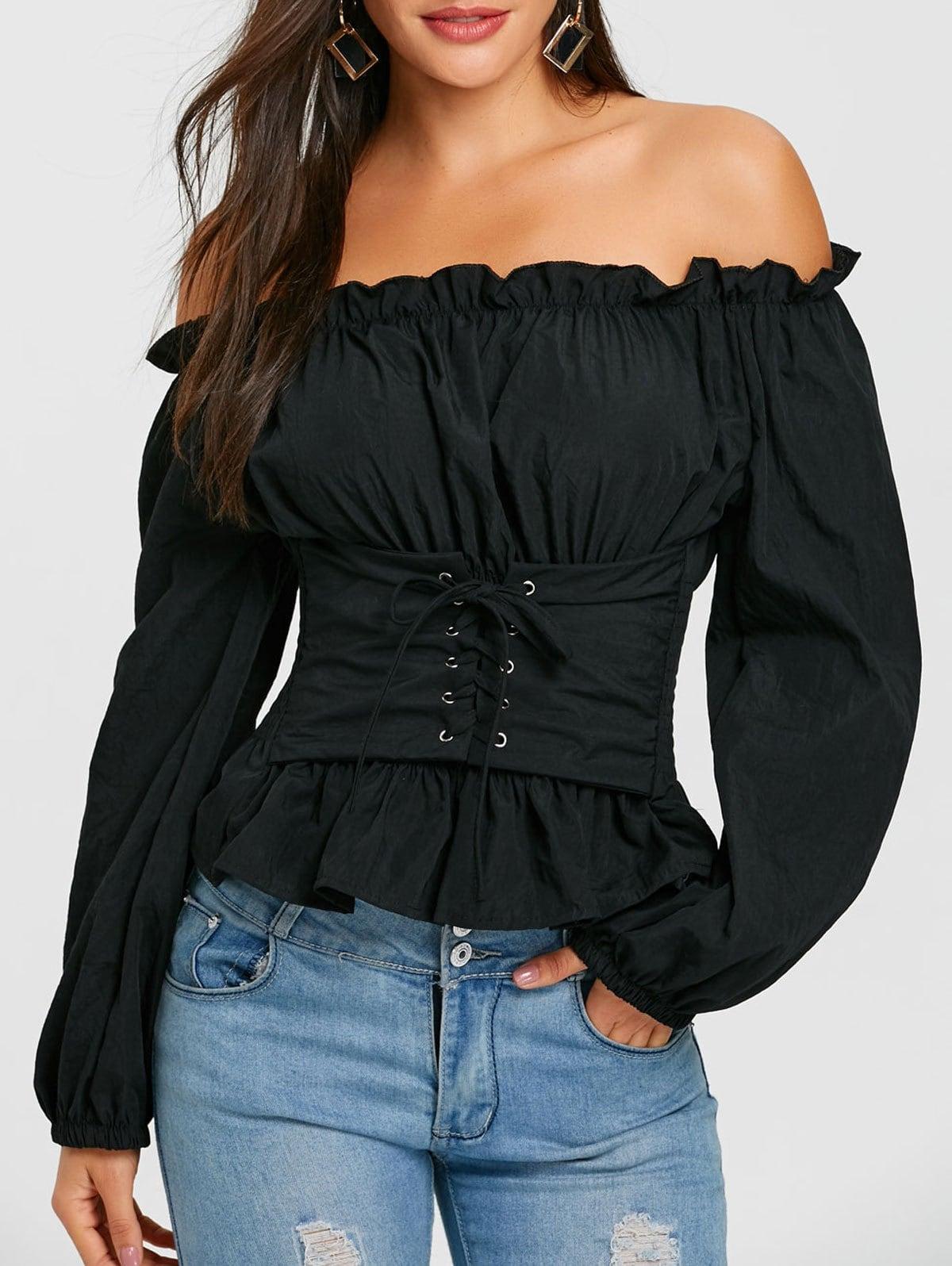 black blouses cheap smocked lace up off the shoulder blouse VXCRGKU