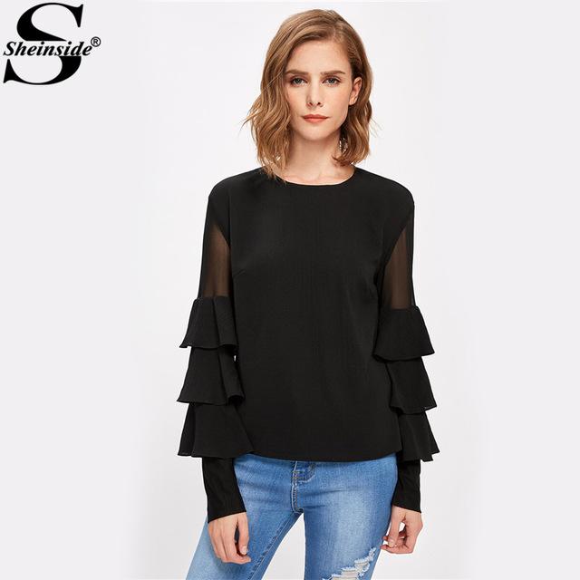 black blouses sheinside black ruffle long sleeve women shirts mesh insert tiered bell  sleeve office ladies PTWRHLY