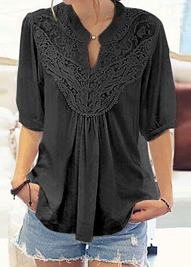 black blouses solid black lace panel half sleeve blouse MUPACKO