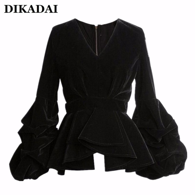 black blouses women sexy puff sleeve blouse shirts black velour casual ruffle wrap tops  with zipper FSAHVUM