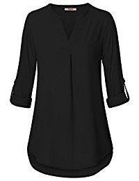 black blouses womenu0027s casual chiffon v neck cuffed sleeve blouse tops RBFWTVE