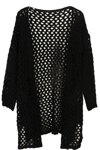 black cardigan sweater black long sleeve hollow pockets cardigan sweater -shein(sheinside) TDWLXMK