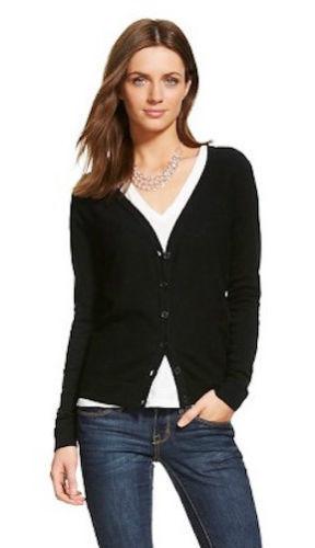 black cardigan sweater new merona womenu0027s favorite knit textured cardigan sweater - ebony (black)  - nwt 490180337759 VDYVKSF