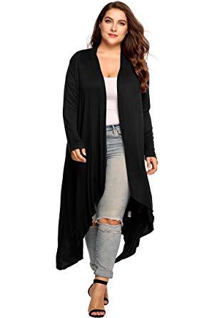 black cardigan sweater vansop womenu0027s plus size long knit maxi kimono cardigan sweater(black ... EBLWCNF
