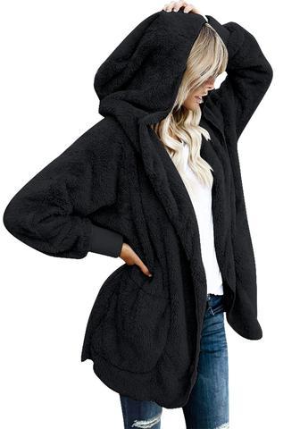 black cardigans black snuggle fleece oversized hooded cardigan CRUZNHL