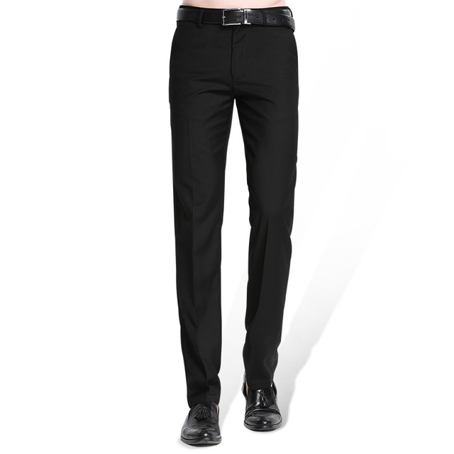 Black Dress Pants menu0027s black suit separate pant flat-front straight slim-fit business  straight male trousers BXLULGK