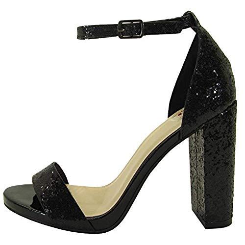 black glitter heels delicious womenu0027s glitter open toe ankle strap block heel sandal (8 b(m)  us, black) IAVBMKE
