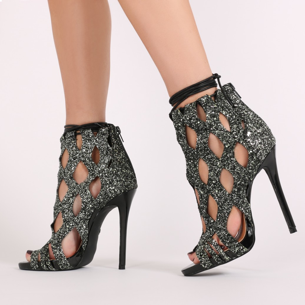 black glitter heels jacey high heels in black glitter CNNNMBX