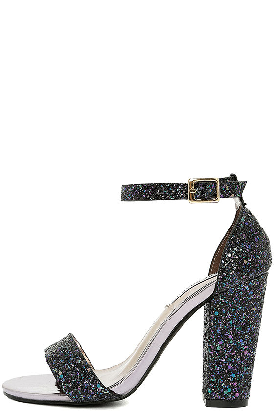 black glitter heels starla black glitter ankle strap heels AUJFELQ
