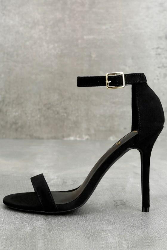 black high heel shoes elsi black single strap heels GTRCHPY