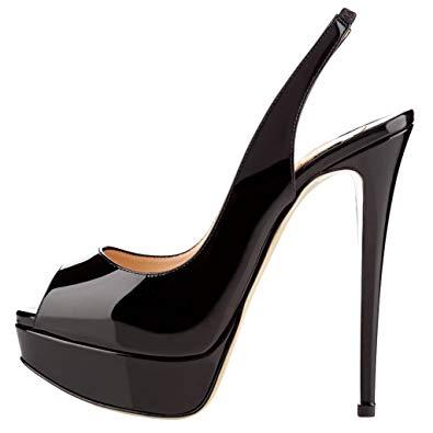 black high heel shoes merumote womenu0027s slingbacks peep toe high heels shoes platform pumps black  5.5us ESDWKAC