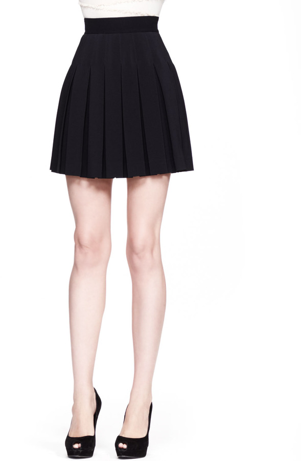 black high waisted skirt ... alexander mcqueen high waist pleated skirt black ... EGWNRUC