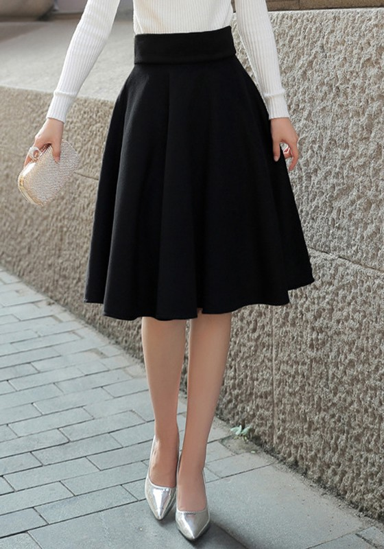 black high waisted skirt black draped plus size hepburn elegant high waisted skirt ZHZBKFI