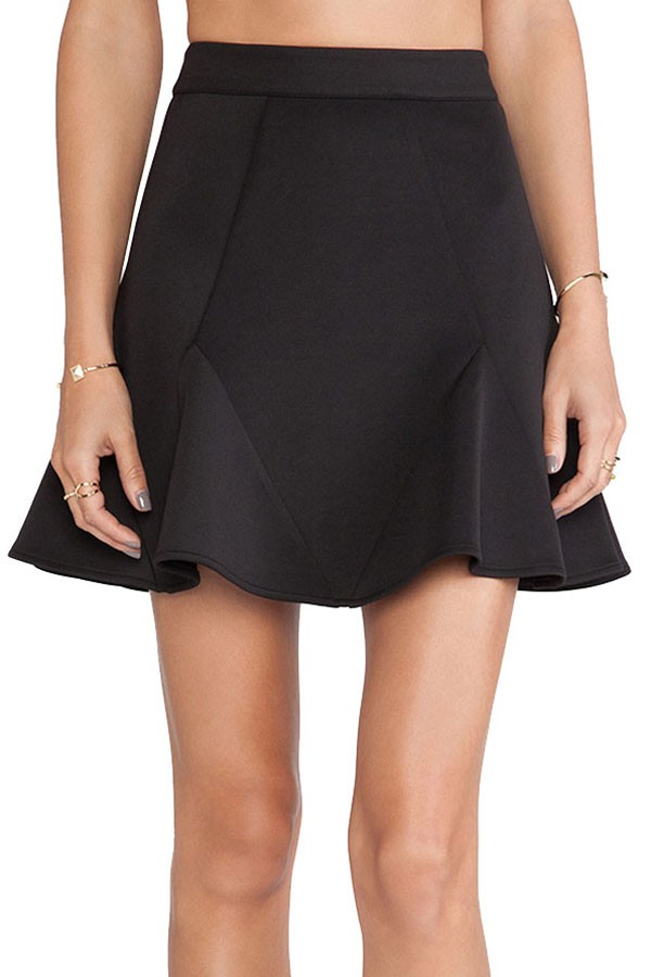 black high waisted skirt black high waist splicing casual flare skirt OQYFNWP