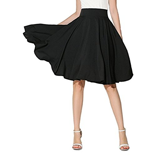 black high waisted skirt choies womenu0027s high waist midi skater skirt m (black) SOCJUOB