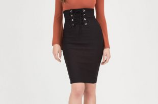 black high waisted skirt due corset high-waisted lace-up skirt black ... XPAIDZI