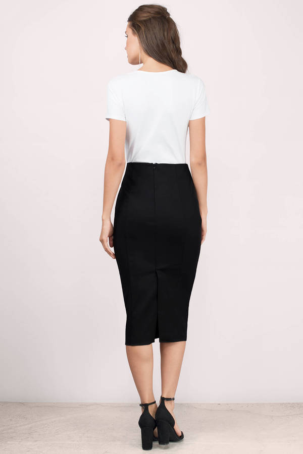 black high waisted skirt ... grace black midi skirt AQMJHRT