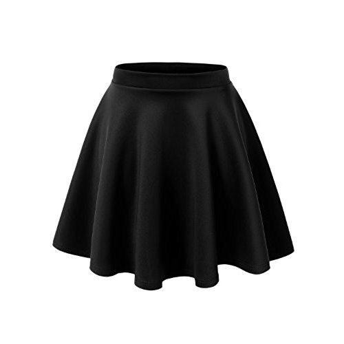 black high waisted skirt mbj wb211 womens basic versatile stretchy flared skater skirt m black CLOQFVF