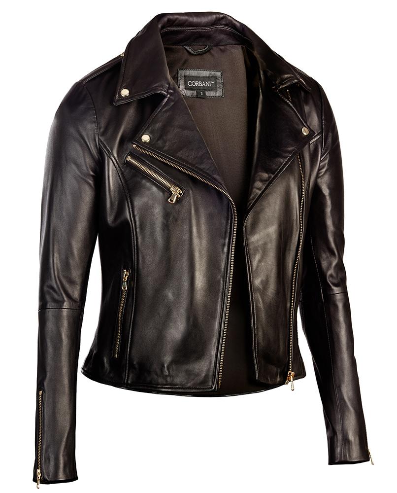 black jackets for women black-corbani-womens-asymmetrical-zip-biker-leather-jacket- XSTOTHG